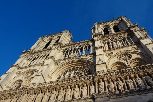 Outside Notre Dame, close view