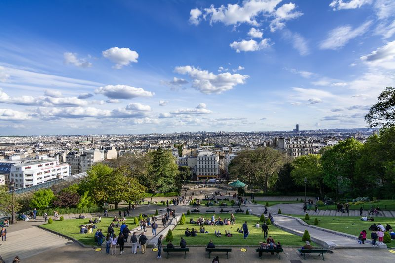 scenic views of paris from montmartre paris hill