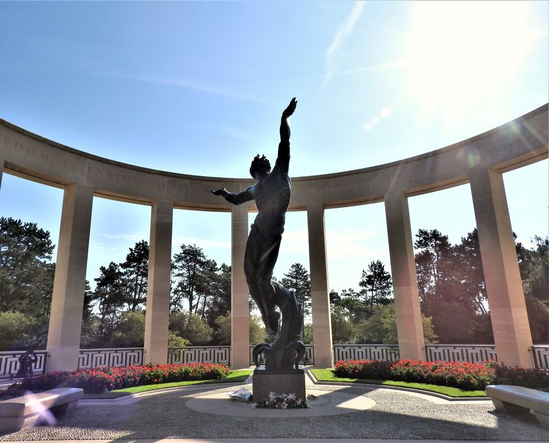 bronze statue in american cemetery normandy