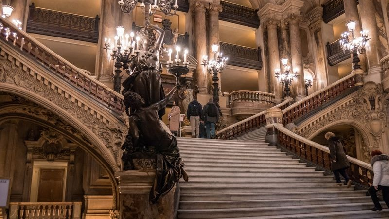 grand stairway at paris opera house
