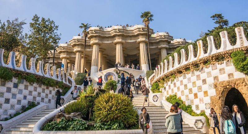 sumptuous staircases in park guell barcelona