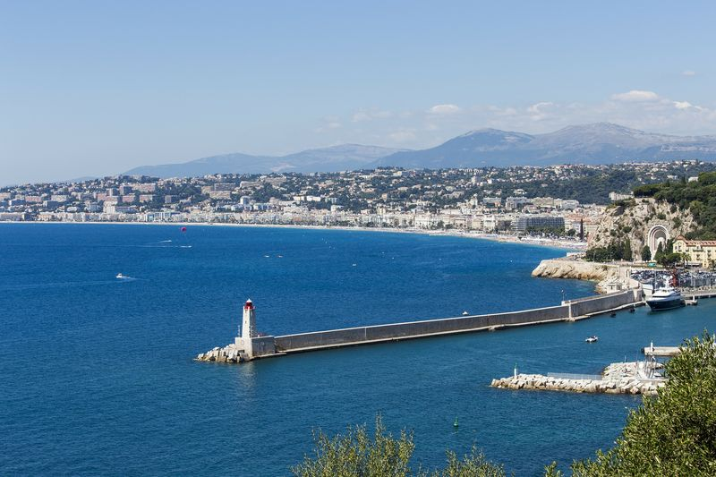 lighthouse in nice and promenade des anglais