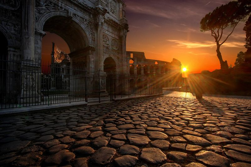 colosseum rome during sunset