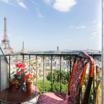 view of eiffel tower from flat in paris
