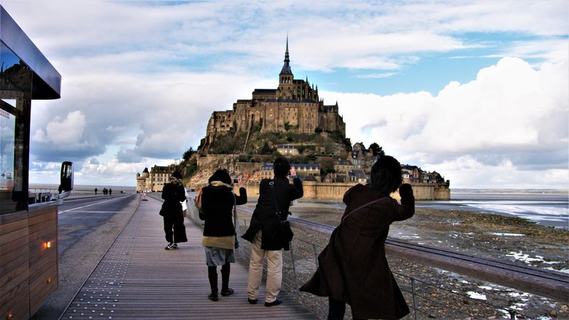 Tourists in Mont Saint Michel